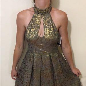 Nanette Lepore brocade halter neck dress